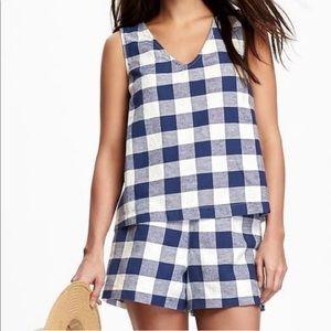 Blue & White Checkered Tank & Shorts Matching Set